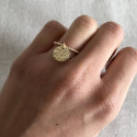 Thin gold-plated beaded ring and hammered medal