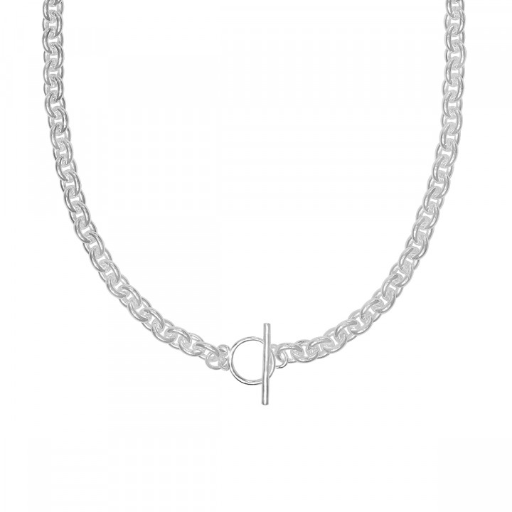 925 Silver coffee bean chain necklace with t toggle