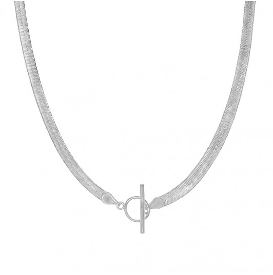 Snake mesh necklace with t toggle