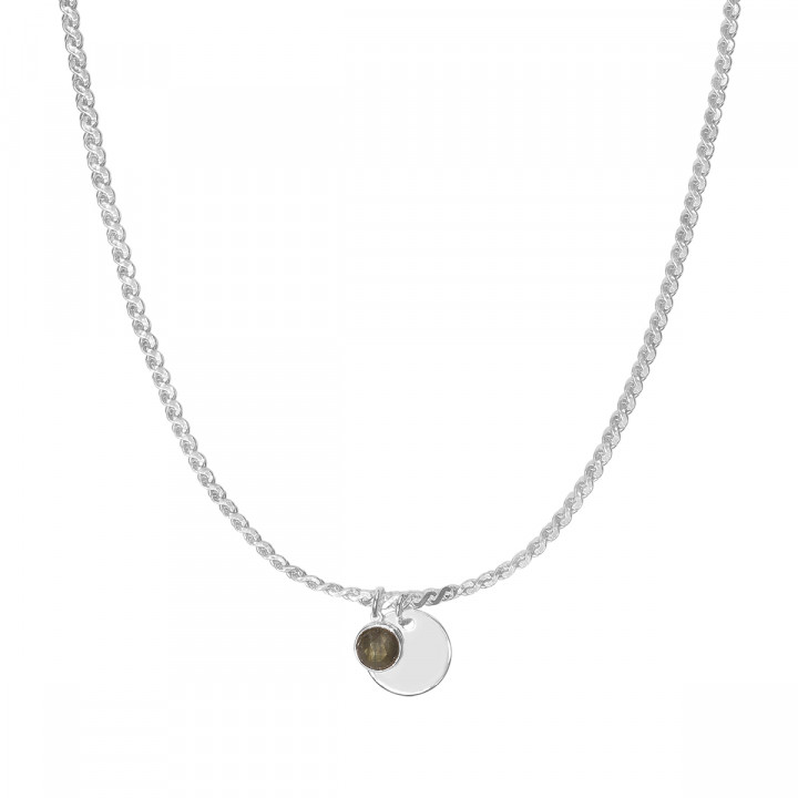925 Silver egyptian necklace with medal & gemstone
