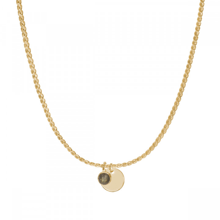 Gold-plated egyptian necklace with medal & gemstone