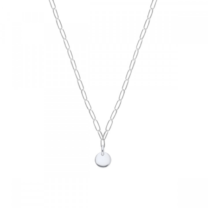 925 Silver chain necklace with large thick links & small curved medal