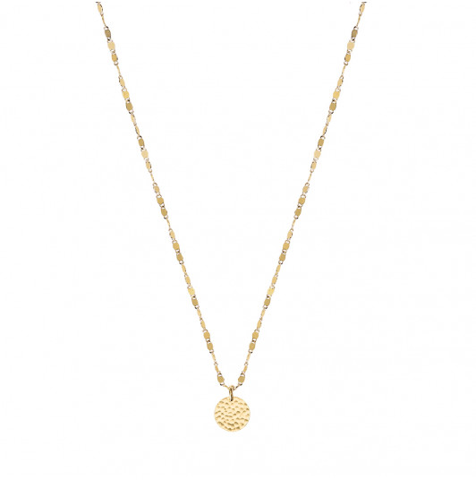 Faceted chain necklace with small hammered medal