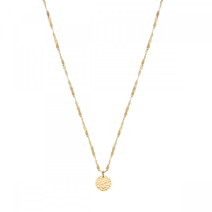 Gold-plated faceted chain necklace with small hammered medal
