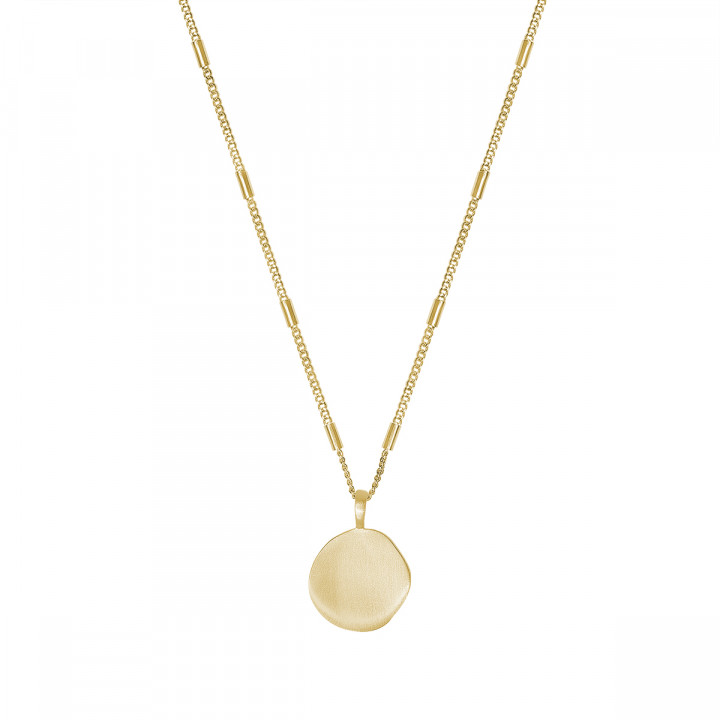 Gold-plated chain necklace with tubes & brushed medal