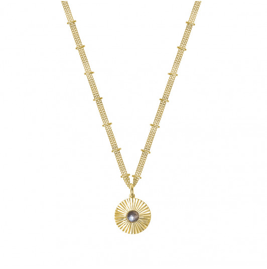 Double beaded chain necklace with striated Labradorite medal
