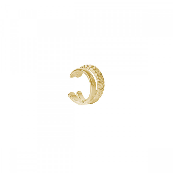 Gold-plated single braided and crossed open earring
