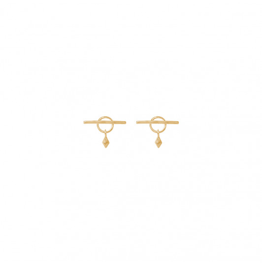 T toggle stud earrings with pendant