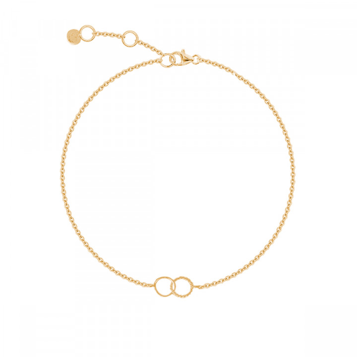 Gold-plated chain bracelet with small striated interlaced rings
