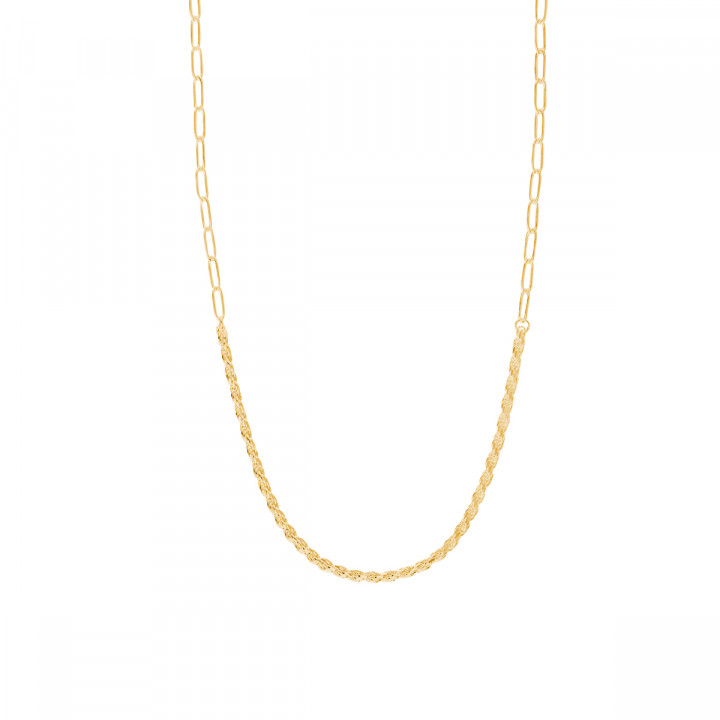 Gold-plated twisted & large link chain necklace