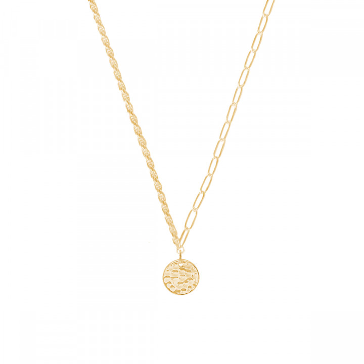 Gold-plated twisted and large link chain necklace with hammered medal