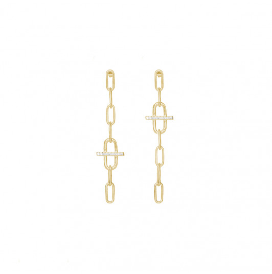 Large link & zircons asymmetric earrings