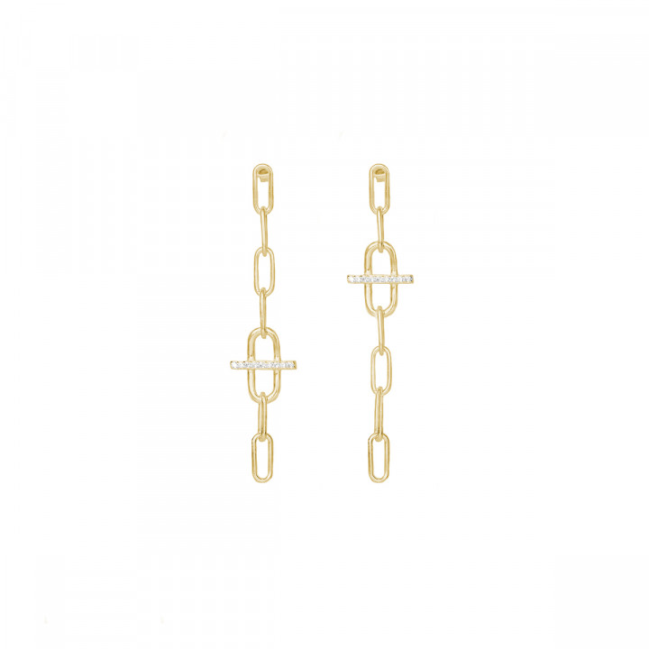 Gold-plated large link & zircons asymmetric earrings