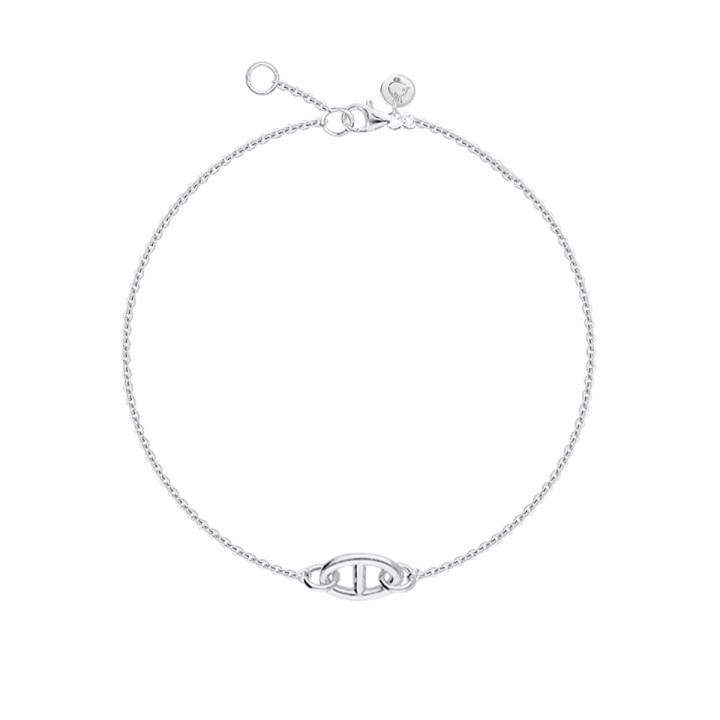 925 Silver Chain bracelet with navy mesh
