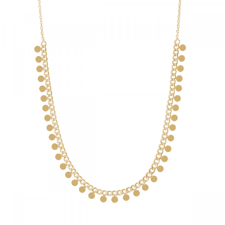 Gold-plated chain necklace with small hanging medals