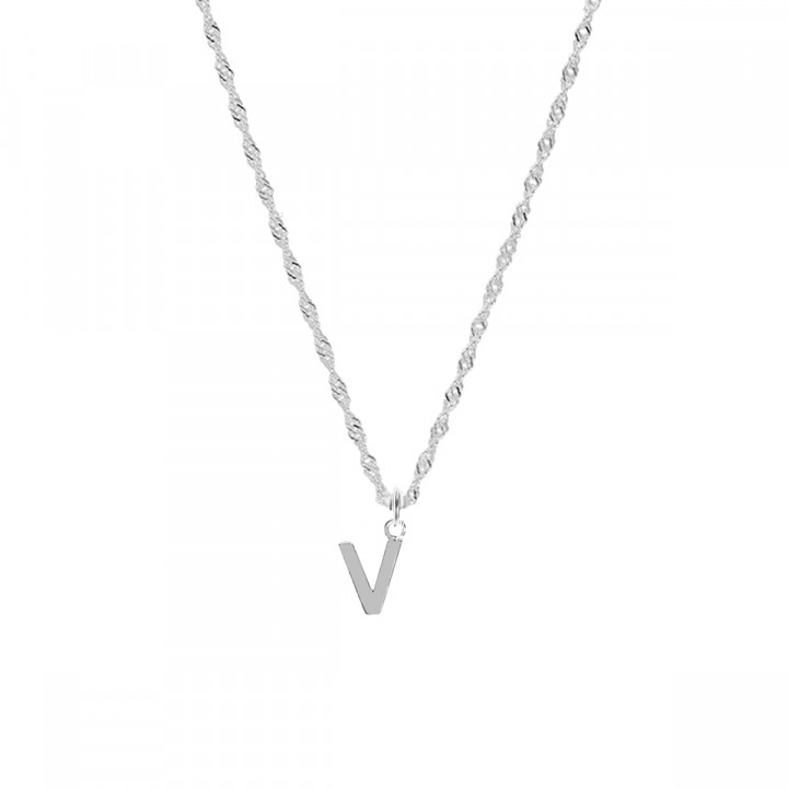 925 silver Twisted chain necklace with a letter charm