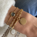 Gold-plated half bangle and double chain bracelet with medal
