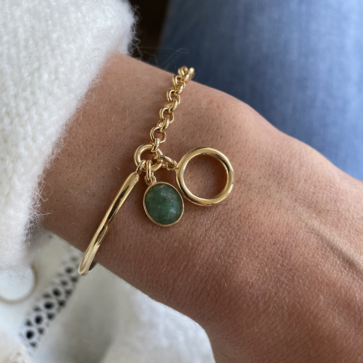Gold-plated Half bangle and thick chain bracelet with ring & Jade stone