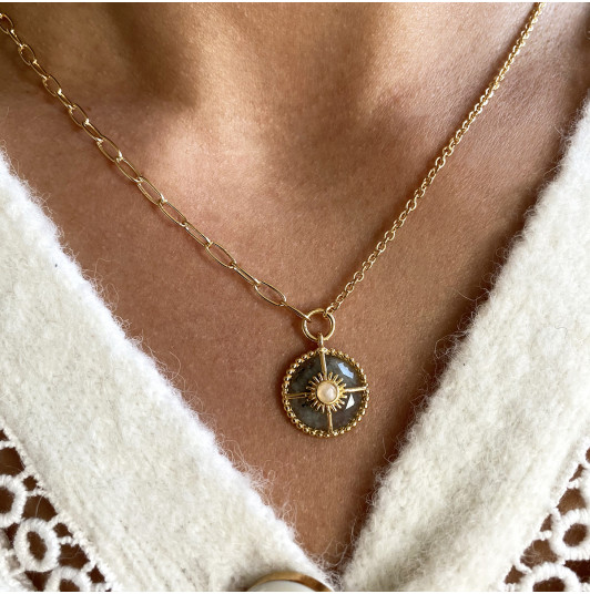 Large link chain necklace with Labradorite & Moonstone medal