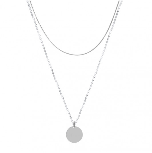 Two-row square mesh necklace & medal