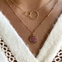 Gold-plated beaded chain necklace with rhodonite medal