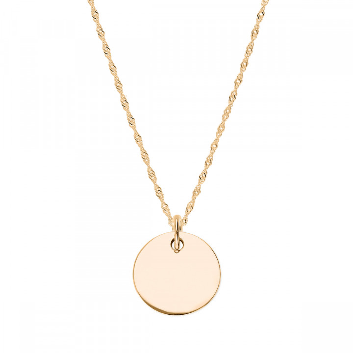 Gold-plated twisted chain necklace with medal