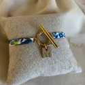 Gold-plated liberty bracelet with T-toggle & a letter charm