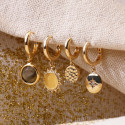 Gold-plated labradorite hoop earrings