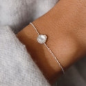 925 Silver chain bracelet with moonstone & snake