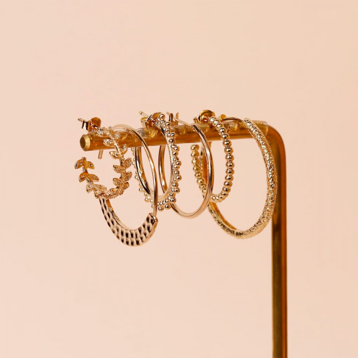 Gold-plated small beads hoop earrings