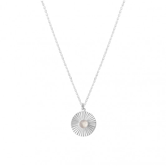 Chain necklace with Moonstone striated medal