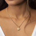 Gold-plated double beaded chain necklace with small Atlas medal