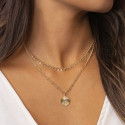 Gold-plated double beaded chain necklace with striated labradorite medal