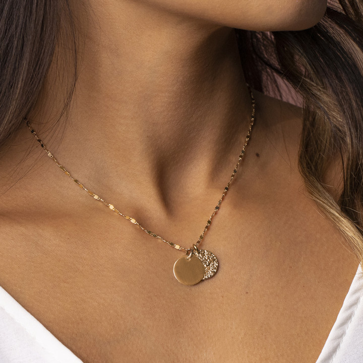 Gold-plated faceted chain necklace with two Maya medals