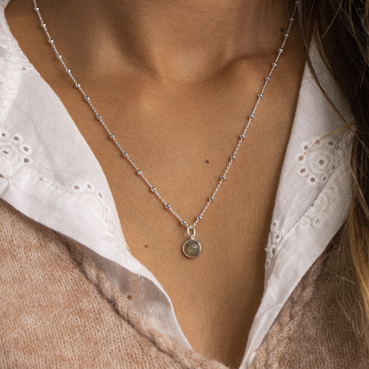 925 Silver beaded chain necklace with gemstone
