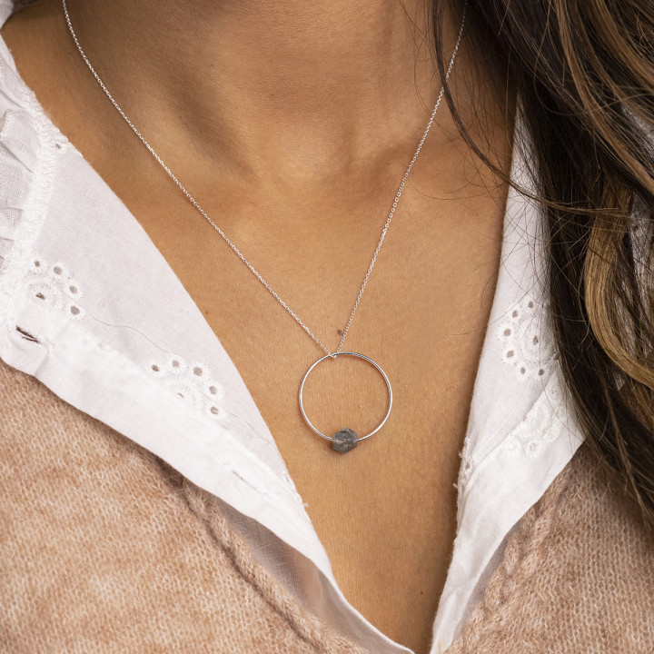 925 Silver ring and labradorite chain necklace