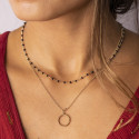 Gold-plated mini black beads chain necklace