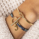 Gold-plated tie bracelet with T-toggle & a letter charm