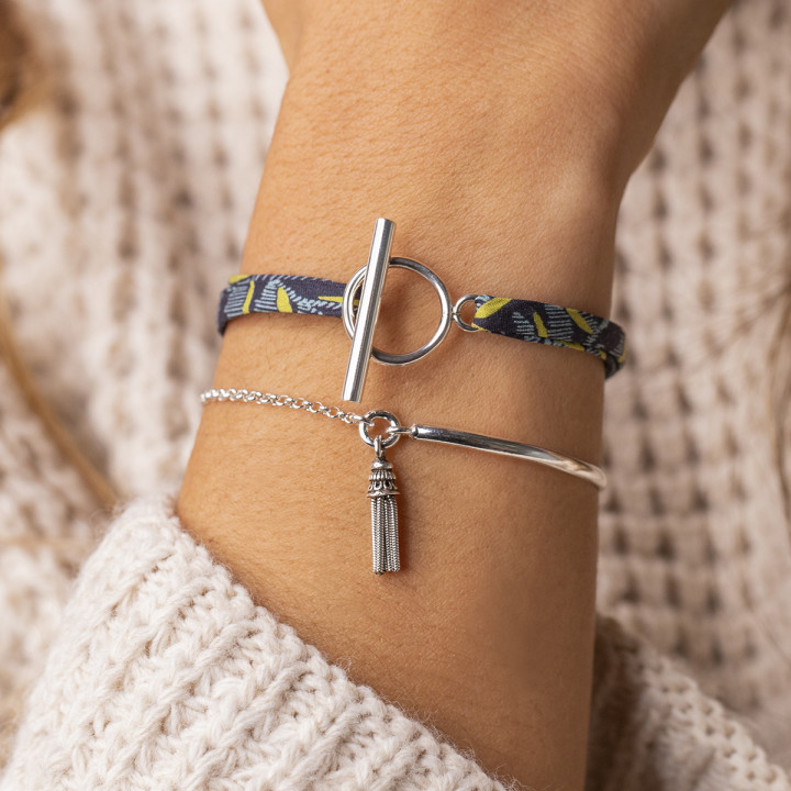 925 Silver half bangle and chain bracelet with pompom