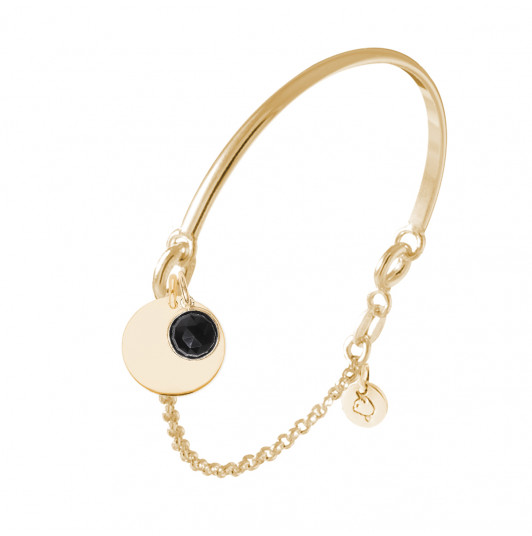 Half bangle and chain bracelet with medal & gemstone