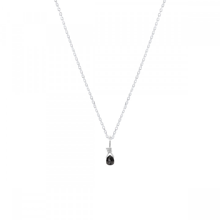 925 Silver chain necklace with gemstone drop