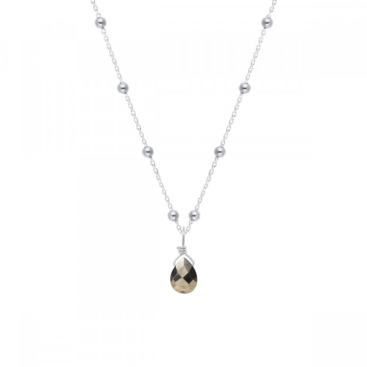 925 silver beaded chain necklace & drop gemstone