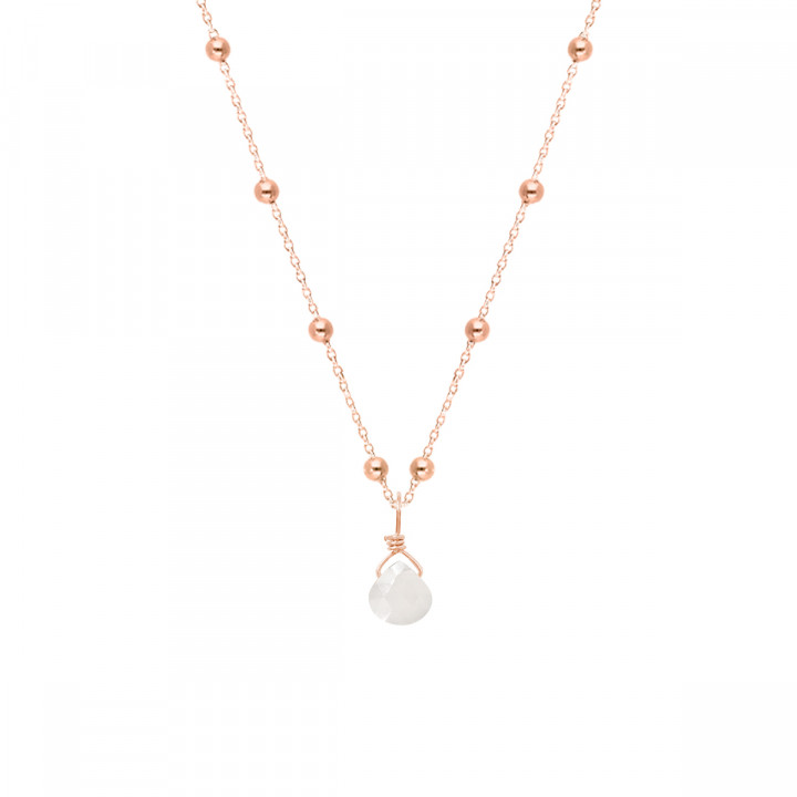 Rose gold-plated beaded chain necklace & gemstone drop