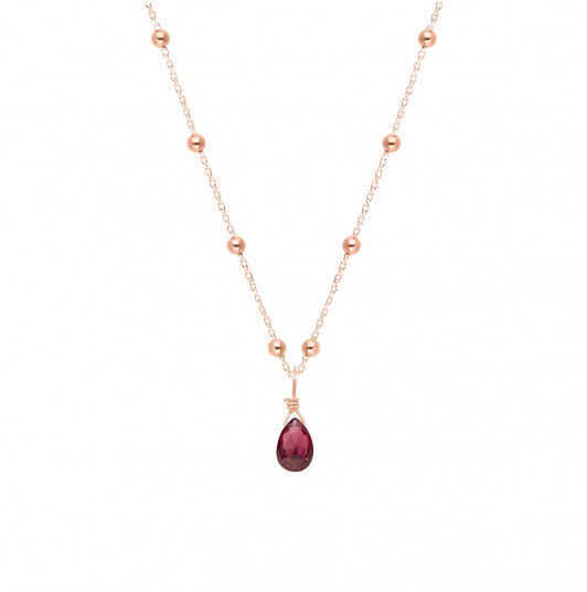 Beaded chain necklace & gemstone drop