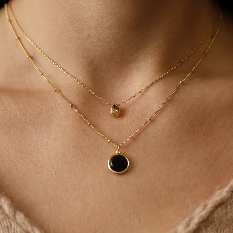 Gold-plated drop & onyx necklace set