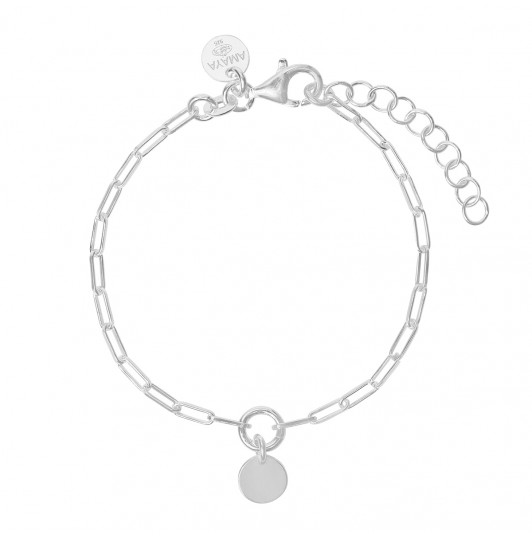 Large link chain bracelet with small medal