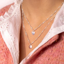 925 silver Twisted chain necklace & small curved heart medal