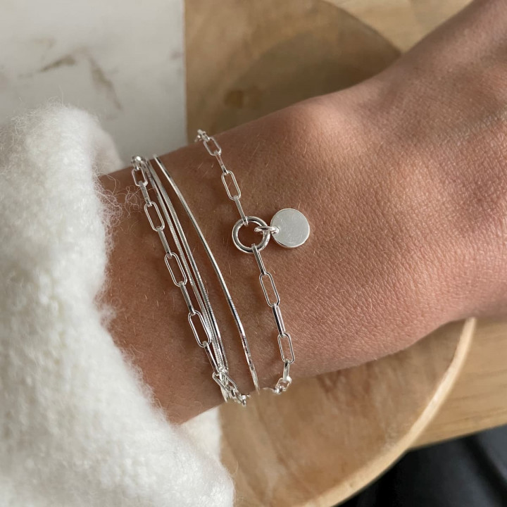 925 Silver snake and large link multi-chain bracelet