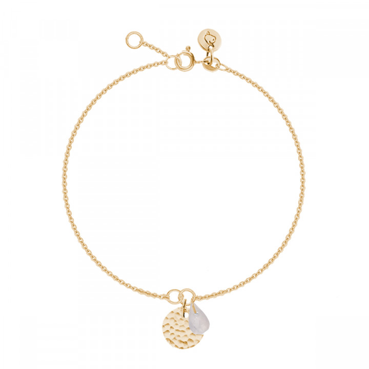 Gold-plated chain bracelet with hammered medal and gemstone