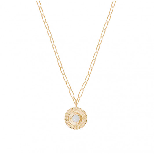 Large link chain necklace with double Moonstone medal